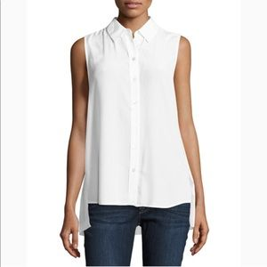 Petite/Small Equipment White Pleated Back Shirt